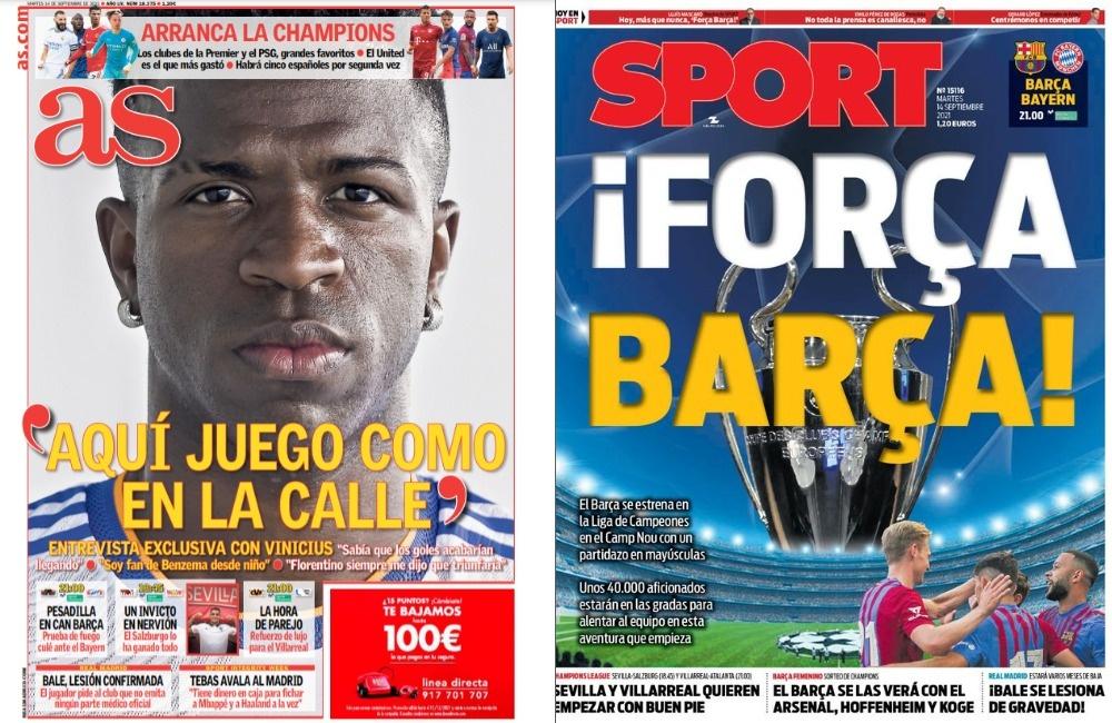 Capas da imprensa desportiva 14 de setembro de 2021.Marca/Sport