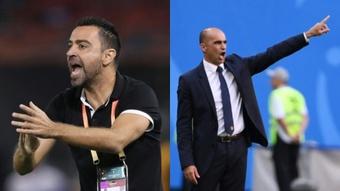 Xavi e Roberto Martínez, os nomes com mais chances de chegar ao banco do Barça. AFP
