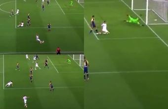 Pellegrini marcó el 0-1 para la Roma. Captura/DAZN