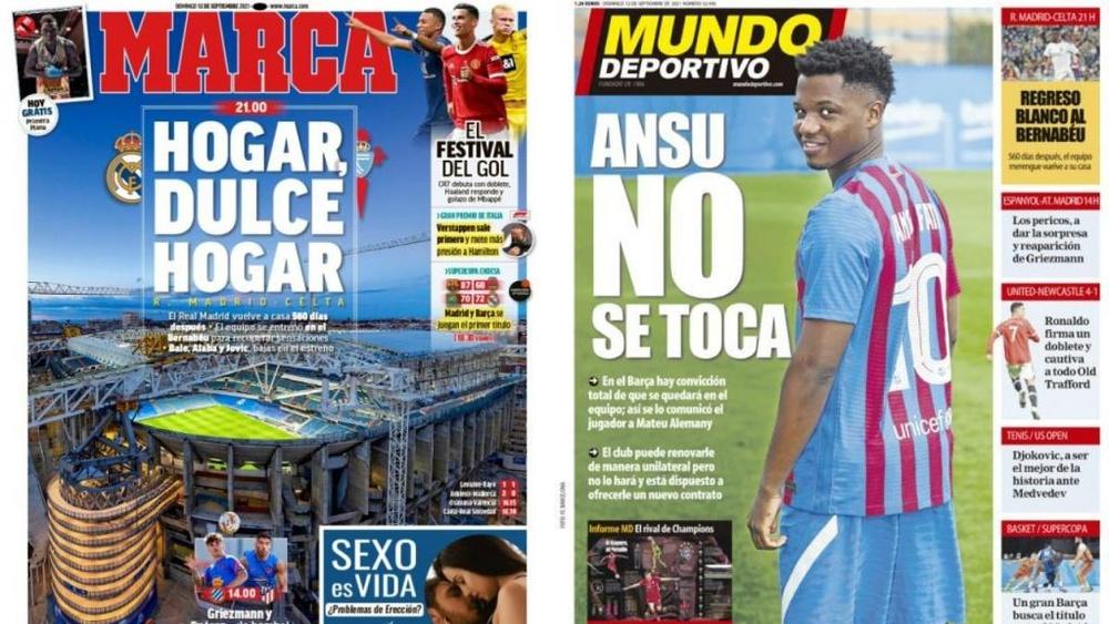 Capas da imprensa desportiva 12 de setembro de 2021.Marca/MD