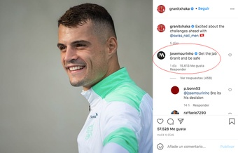 Mou recommended Xhaka to get vaccinated. Screenshot/Instagram/granitxhaka