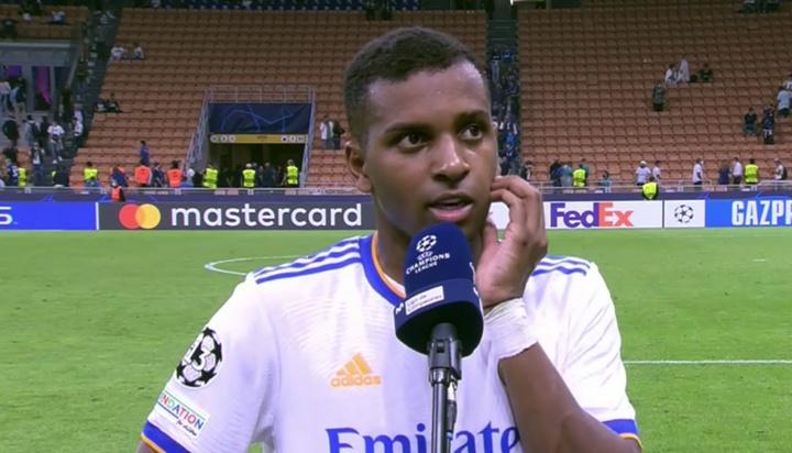 Rodrygo, muy feliz por su gol y la victoria. Captura/MovistarLigadeCampeones