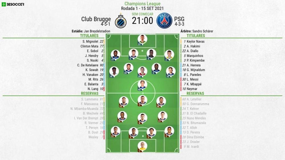 XI Brugge-PSG 1ª jornada da Champions League 2021-22, 15/09/21.BeSoccer