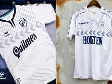 Quilmes llevará una camiseta idéntica a la del Tottenham en los años 80. Hummel/CFS