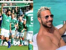 Un simple gesto provocó un lío en la Bundesliga. AFP/Instagram/ClauPiza14