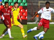 A la izquierda, Paulinho cuando jugaba en el Vilinius; a la derecha, cuando jugaba en el Lodz.