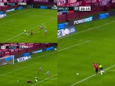 Gigliotti cayó cerca del área y el colegiado señaló penalti. Captura/TyCSports