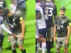 Darnell Fisher got very up close and personal with Callum Paterson. Screenshots/ESPN