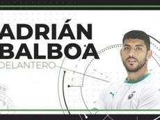 Adrián Balboa, nuevo jugador del Racing de Santander. Twitter/realracingclub