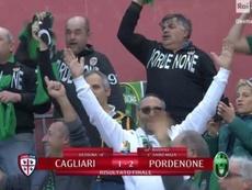 La afición del Pordenone se hizo notar en el campo del Cagliari. Captura/RaiSport