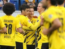 Reus y Haaland se intercambian los roles para seguir la estela del RB Leipzig. AFP