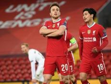Diogo Jota marcou o gol número 10.000 da história do Liverpool. AFP