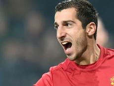 Mkhitaryan celebrating a goal for United. AFP