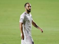 Higuaín se perderá el primer partido de 'play off' del Inter Miami. AFP