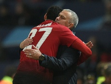Fellaini's last minute winner caused Mourinho to celebrate wildly on the touchline. AFP