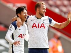 Harry Kane (R) got four assists in Spurs' win over Southampton. AFP