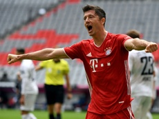 Robert Lewandowski got two in Bayern's German Cup final win. AFP
