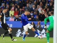 Vardy anotó un doblete y se quedó con ganas de más. AFP