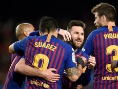 O Barça está muito perto de conseguir o triplete. AFP
