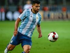 Agüero celebró presencia en la Copa América. AFP
