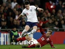 Rice, que ha debutado recientemente con Inglaterra, suena para el Real Madrid. AFP