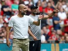 Guardiola se acordó de Klopp en rueda de prensa. AFP