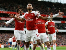 Aubameyang's brace helped Arsenal take bragging rights in the North London derby. AFP