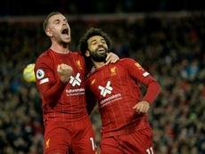 Henderson remarcó la dificultad del gol de Salah. AFP
