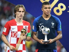 Master and apprentice: Luka Modric won the World Cup's best player award and Kylian Mbappe the young player of the tournament