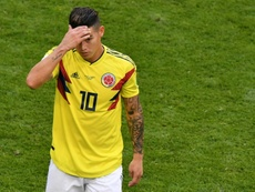 James Rodriguez left the field after half an hour. AFP