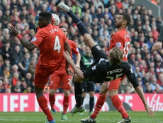 Peter Crouch attempting another bicycle kick for Stoke. AFP