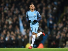 Gabriel Jesus entering the pitch for his debut on Saturday. AFP