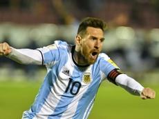 Messi marcou hat-trick para colocar a Argentina no Mundial'2018. AFP