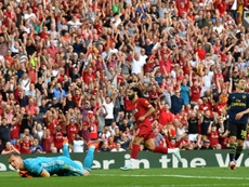 Salah firmó un doblete ante el Arsenal. AFP