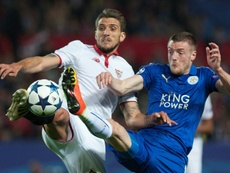 Sevilla's Carrico vies with Leicester City's Vardy during their Champions League match. AFP