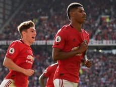 Rashford (R) scored the only goal in Man U's win over Leicester. AFP