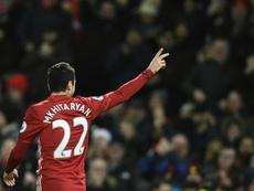 Match-winner Henrikh Mkhitaryan was injured in Manchester United's Europa League triumph. AFP