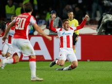 Milan Pavkov scored both goals against the Premier League club. AFP