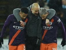 Guardiola habló del polémico gol de Agüero. AFP