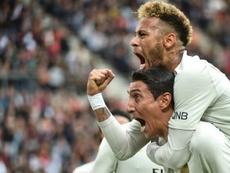 Angel Di Maria and Neymar celebrate the PSG. AFP