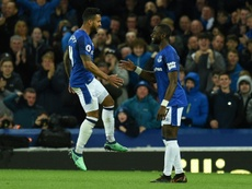 Theo Walcott celebrates scoring against Newcastle. AFP