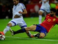 Le joueur espagnol Diego Costa dans le match qualif pour le Mondial-2018 contre l'Israël. AFP