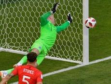 Pickford lo usó en el Mundial y sigue con la tradición. AFP