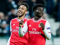 Emery premió a Saka y le hizo entrar en la historia del Arsenal. AFP