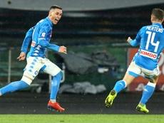 Napoli forward Jose Callejon (L) scored his first Serie A goal this season