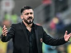Gattuso queda tocado tras la eliminación en Europa. AFP