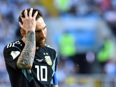 Lionel Messi after more disappointment with Argentina at this summer's World Cup. AFP