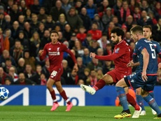 Salah didn't heavily celebrate either of his goals. AFP