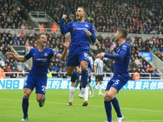 Hazard celebrates putting Chelsea ahead against Newcastle.  AFP