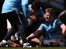 De Bruyne was substituted off before half-time v Spurs. AFP.